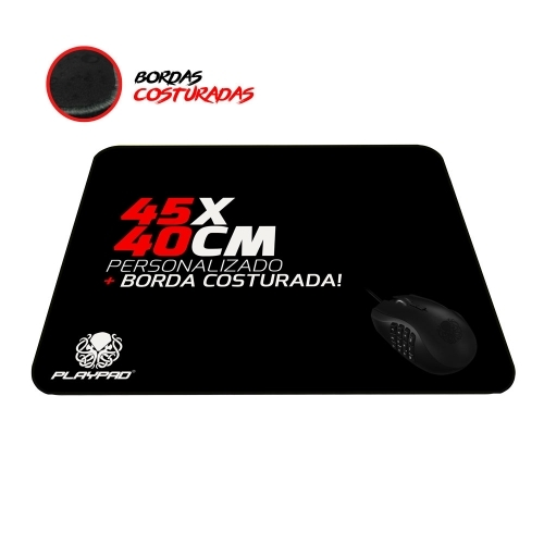 Mousepad Gamer Personalizado 45 x 40cm + Borda Costurada