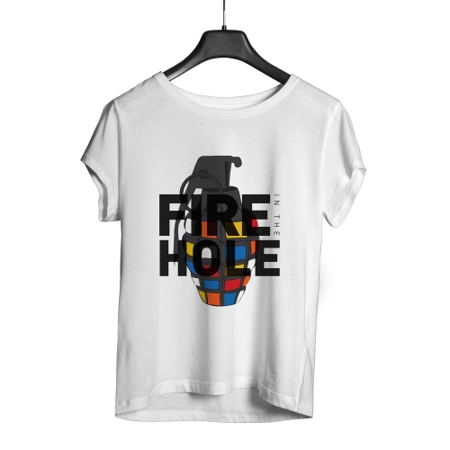 Camiseta Playpad Fire in the hole - Branca